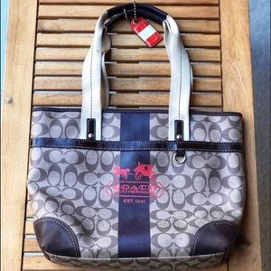 Coach Heritage Stripe Leather Tote - Gently Used